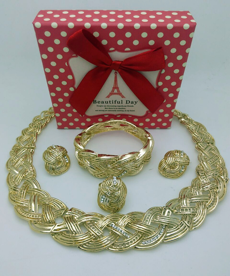 2016 Top Quality Wholesale new jewelry sets necklace earrings dubai african jewelry sets fashion 18K yellow gold plated jewelry(China (Mainland))
