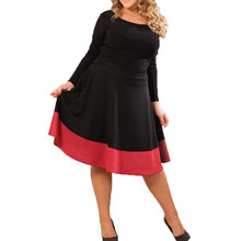 Buy Plus Size L 4XL 6XL 2017 Women Autumn Casual Bodycon Sexy Dress 3/4 Sleeve O neck Party Vestidos A-Line Knee Length Dresses for $26.32 in AliExpress store