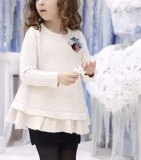 New girls corsage knit sweater baby Lace long cashmere sweaters wholesale<br><br>Aliexpress