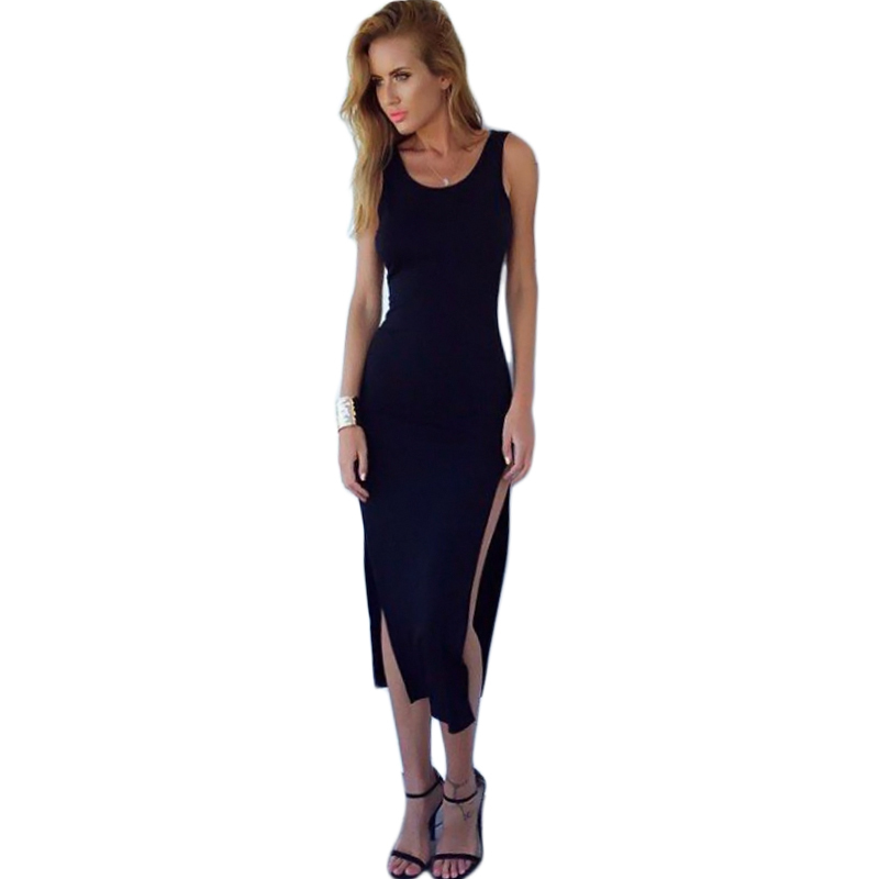 2015 New Summer Hot Selling Women in Europe and America burst models black round neck beach dress sexy halter dress summer style(China (Mainland))