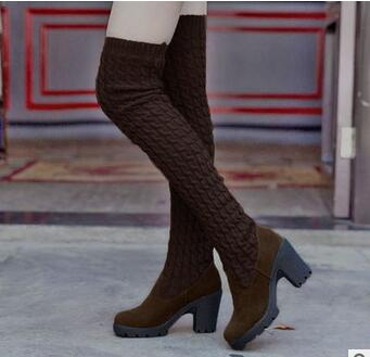 2016 best selling fashion winter boots high cylinder flat knitting wool elastic knee boots Martin wear tide shoes Free Delivery(China (Mainland))