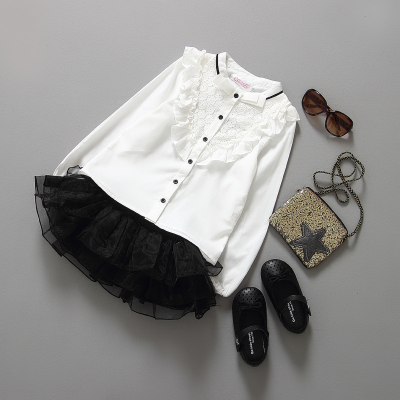 British style girls Small Stand collar Long sleeve shirt and Skirt 2 pieces sets<br><br>Aliexpress