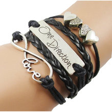 Fashion Jewelry Leather Heart to Heart One Direction Infinity Bracelets Infinite Multilayer Rope Charm Women Men Woven Bracelet(China (Mainland))