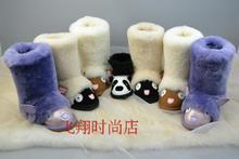 Panda Animal Mariquita Mueca Buffalo mujeres corto suela dura zapatos de piel de nieve botas de piel de oveja natural(China (Mainland))