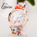 2016 HOT Fashion Women Watches Reloj Rose Flower Print Silicone Floral Jelly Dress Watches Girls Lady