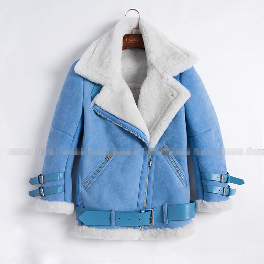 Blue Sheepskin Coat | Down Coat