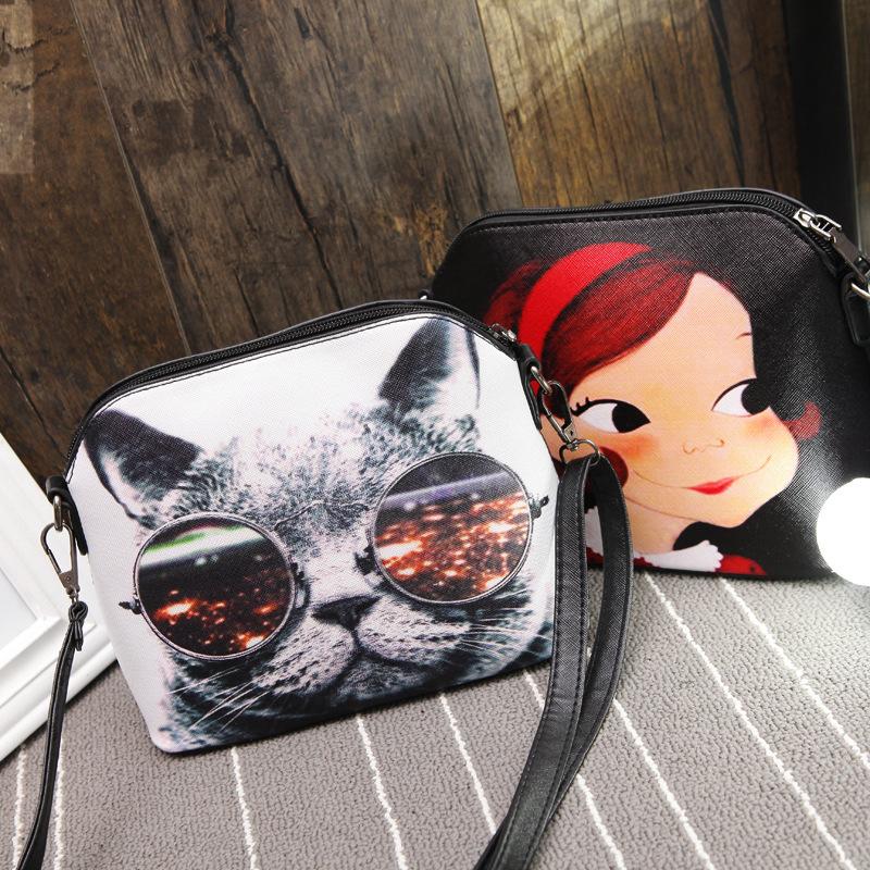 2016New Style Cartoon Women Shoulder Bags Shell Leather Girl Sling Bag Cute Cat Bolsa Feminina Women Cross Body Bag(DJB016-44)(China (Mainland))