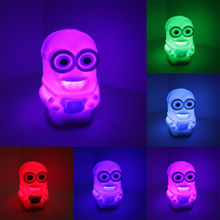 New 7 Color Changing Colorful Bedside Night Lamp Light luminaria Toy Despicable Me 2 Minions toys Figures Free Shipping(China (Mainland))