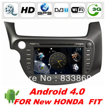 """HD 2 Din 8 """"Android 4.0 Car DVD for Honda FIT (2009-2011) with GPS Car Video BT TV FM IPOD RDS support 3G/WIFI free WIFI dongle"""