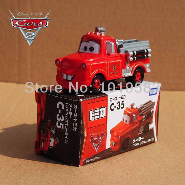 TOMY TOMICA C-35 1/55 Scale Pixar Cars 2 Toys Fire-engine Version Tow Mater Fire Truck Diecast Metal Pixar Car Toy New In Box(China (Mainland))