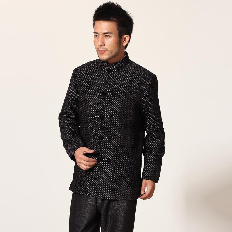 Black Chinese Style Men Jacket Kung Fu Coat Spring Autumn Thick Outerwea hombre chaqueta Size M L XL XXL XXXL MN42Одежда и ак�е��уары<br><br><br>Aliexpress