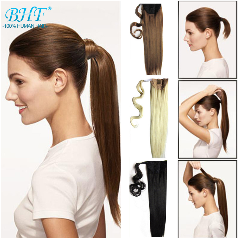 Remy Human Hair Drawstring Ponytail Clip In Ponytail Human Hair Natural Ponytail Straight BHF Human Hair Ponytail(China (Mainland))