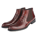 2016 New Elegant Genuine Leather Formal Man Ankle Boots Pointed Toe High-Top Men's Dress Martin Heels Male Chelsea Shoes GLM1699