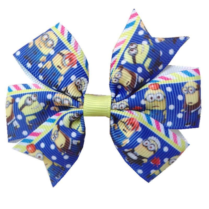 3'' Cartoon Character Minions Hair Clip Despicable Me Hair clips blue Baby Holiday Bow Hair Accessories for girl 127(China (Mainland))