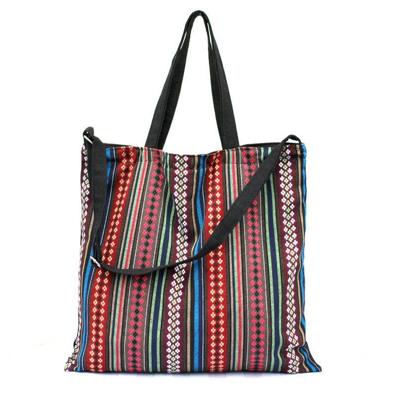 Striped Canvas Shopping Bag Designer brand Handbag Embroidery Tote Large MULTICOLOUR travel Shoulder bags - 8store store