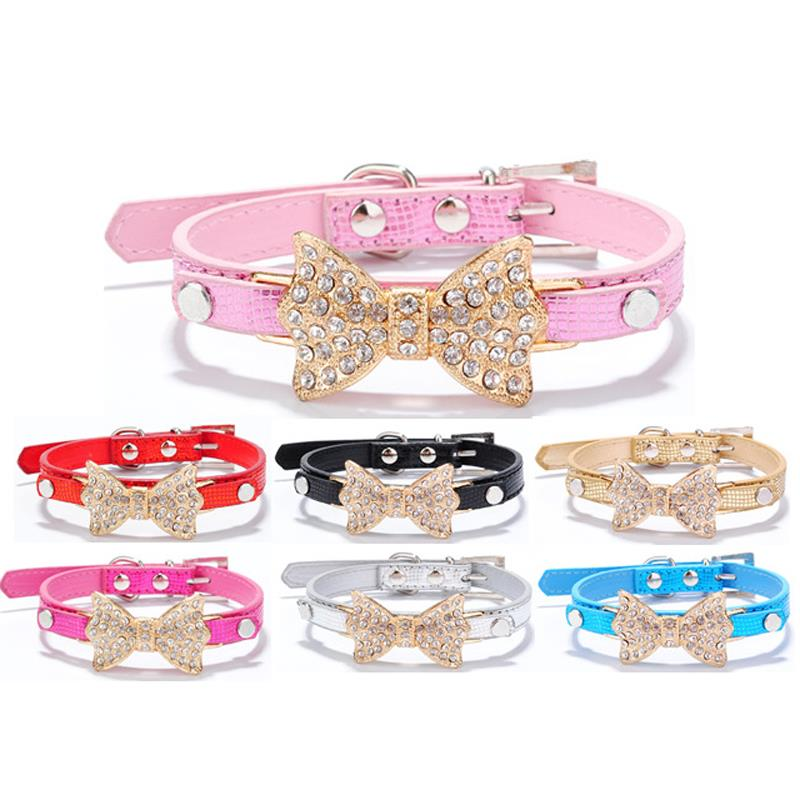 Bling Crystal Bow Rhinestone Dog Collar Multicolor Leather Pet supplies Collar Dogs Cat Adjustable(China (Mainland))