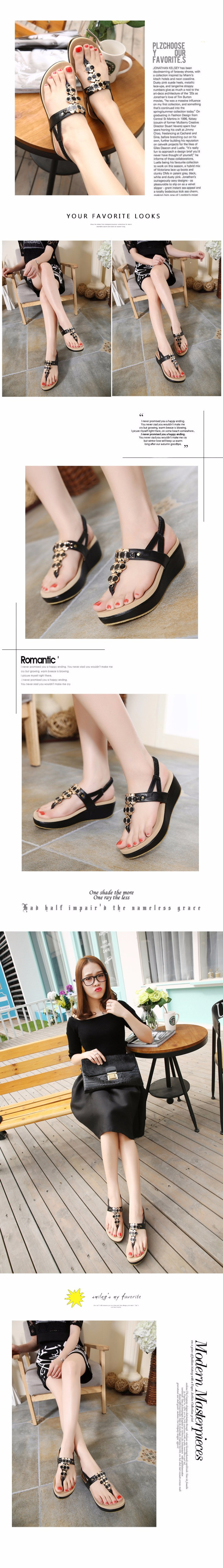 New 2016 Women sandal women summer wedge shoes woman sandalias platform sandals Thong Beaded Black sandal