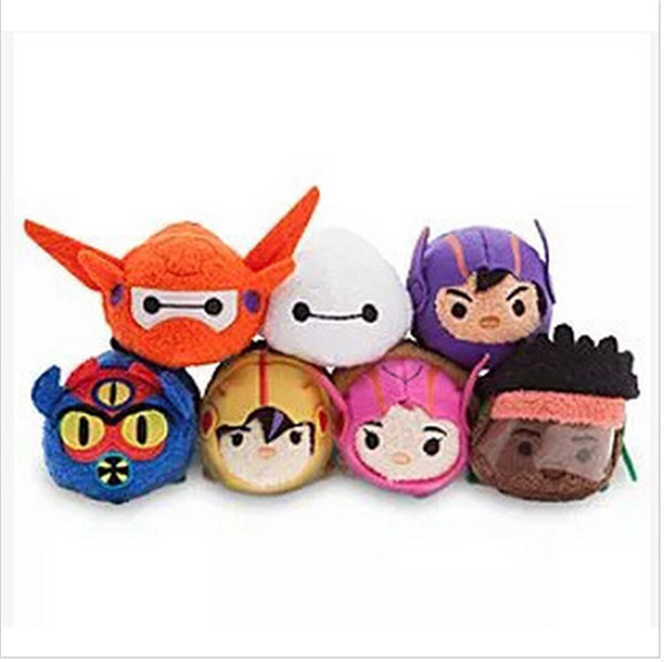 NEW Tsum Tsum Big Hero/Red Armor Baymax Hiro Gogo Honey Wasabi Fred Mini Plush Doll Mobile Phone Screen Wipe free shipping(China (Mainland))