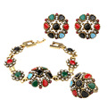 2016 Fashion Vintage Ethnic Jewelry Crystal Flower Bracelet Sets Charm Earing For Women Turkish 3Pc Nigerian