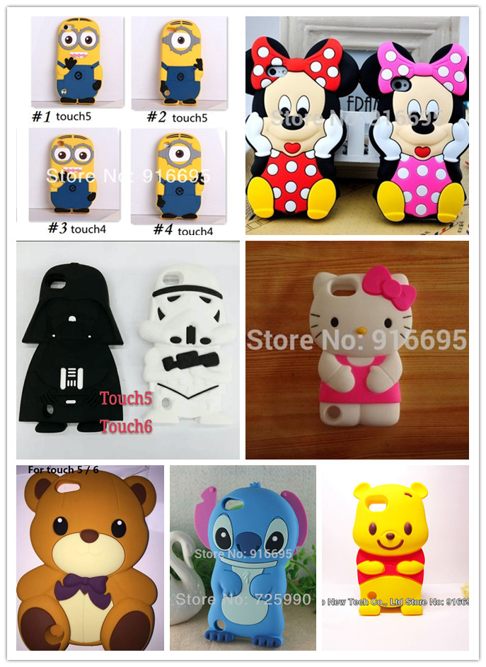 Wholesale Hello Kitty Stitch Bear Soldier Minnie Silicon 3D Case Cover for iPod Touch 4 4g 5 5S 6 Free Shipping 10pcs/lot(China (Mainland))
