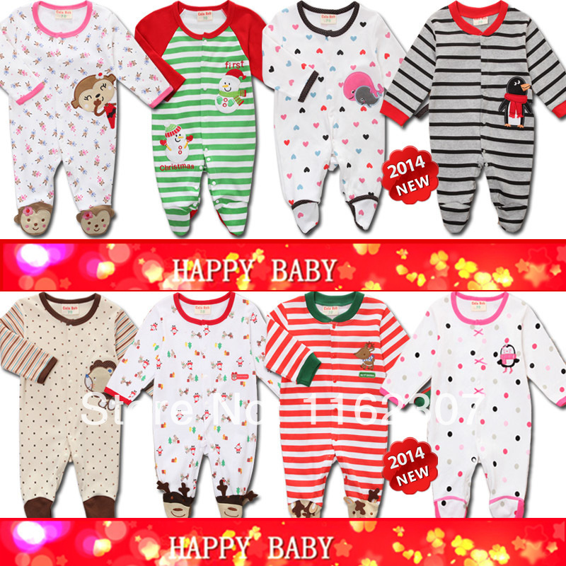 Free shipping High quality Baby pajamas with feet cover long sleeve baby rompers baby sleeper wear(China (Mainland))