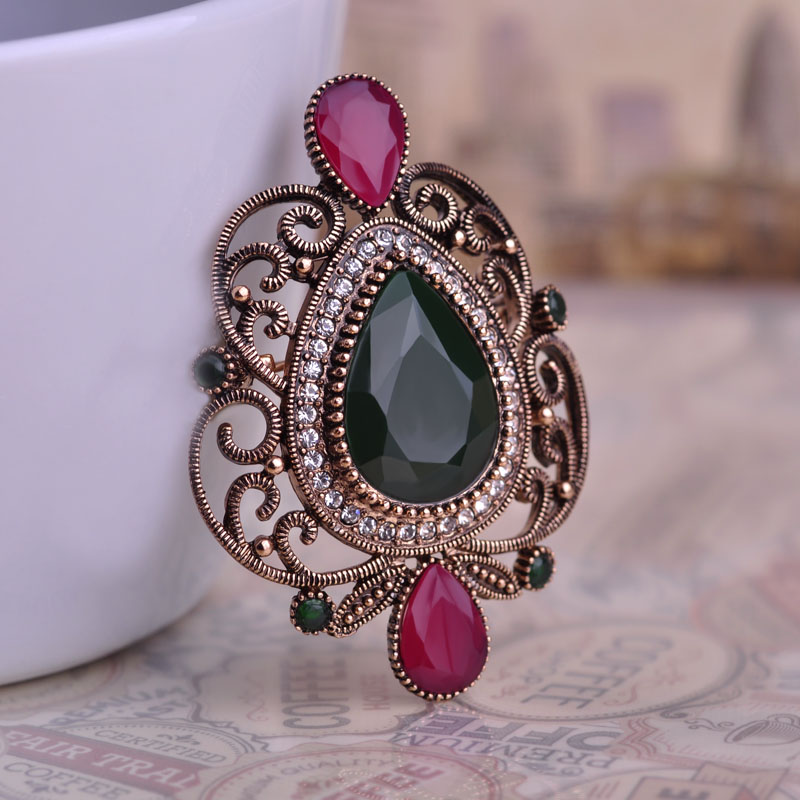 Green Water Drop Shape Brooches Hat Hair Accessories Brand Turkish Corsage Antique Gold Plated Vintage Brooch Pins Women Gifts(China (Mainland))