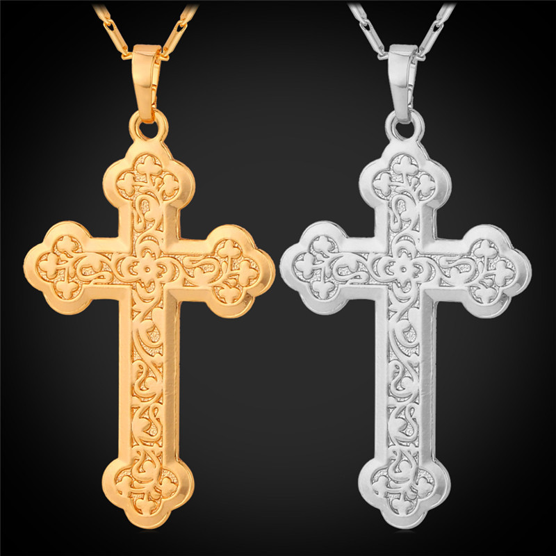Gold Cross Pendant Necklaces 18K Real Gold/Platinum Plated Crucifix Pendant Necklace Latin Cross Fleuree Religious Jewelry P090(China (Mainland))