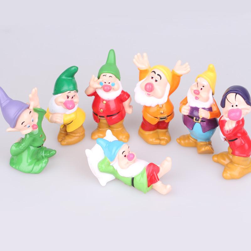 7pcs/se 3inch Princess Snow white and seven dwarfs pvc figure toys gift for kids Cake Topper(China (Mainland))
