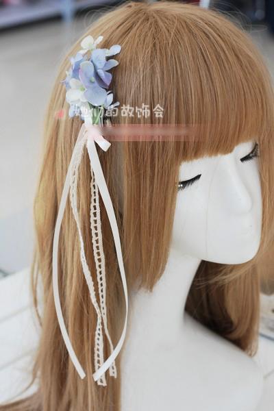 Japanese Mori Girl Cosplay Party Christmas Lolita Handmade Bow Hairpin Female Headdress Hair Accessories Lace Ribbon(China (Mainland))