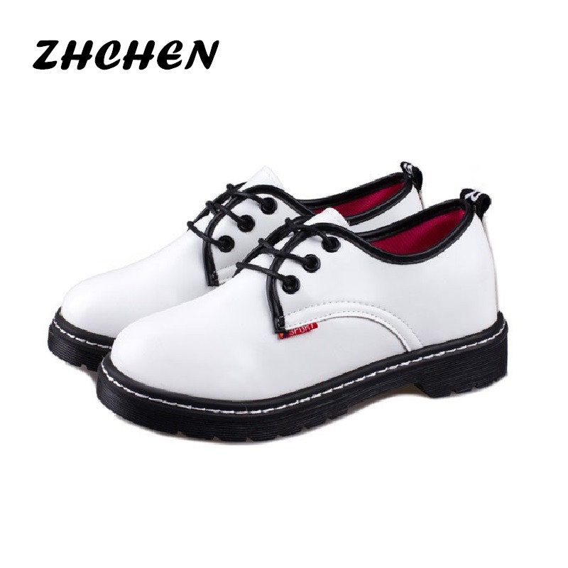 Women Shoes New 2016 New Style Martin Flats Soft Round Toe Women Casual Shoes Lace-Up Spring White oxford Shoes Women(China (Mainland))
