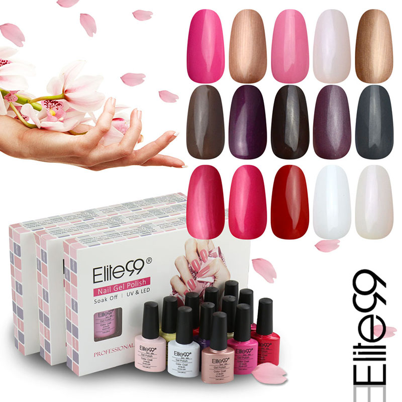 Elite99 7.3ml 5 Pieces Color UV Gel Polish Top Base Coat Needed Soak Off Gel Nail Polish Special Nail Art Manicure Long lasting(China (Mainland))