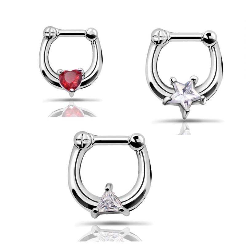 316L Stainless Steel Septum Clicker Hinged Clear Star+ Red Heart+ Triangle Shaped CZ Nose Ring Gauge 14G Nose Cuff Ring piercing(China (Mainland))