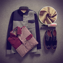 2015 Autumn Winter Men Shirt Fashion High Quality Cotton Plaid Shirts Long Sleeve Casual Shirt ( Fleece And No Fleece Lined )(China (Mainland))