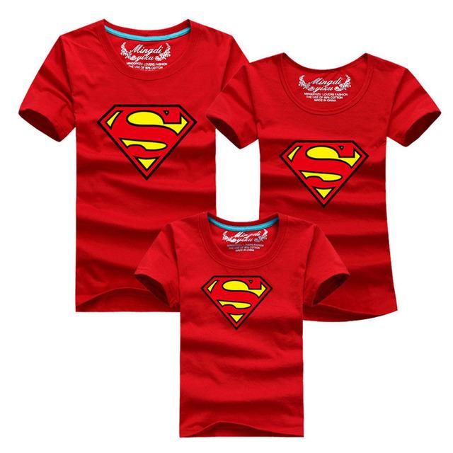 1 шт. 2016 летний стиль семья взгляд супермен футболки 13 цветов семьи соответствующие ...