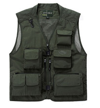2015 Outdoor Men Multi-pocket Photography  Waistcoat Hunting Casual Vest Gilet Mesh Lined Breathable Plus Size(China (Mainland))