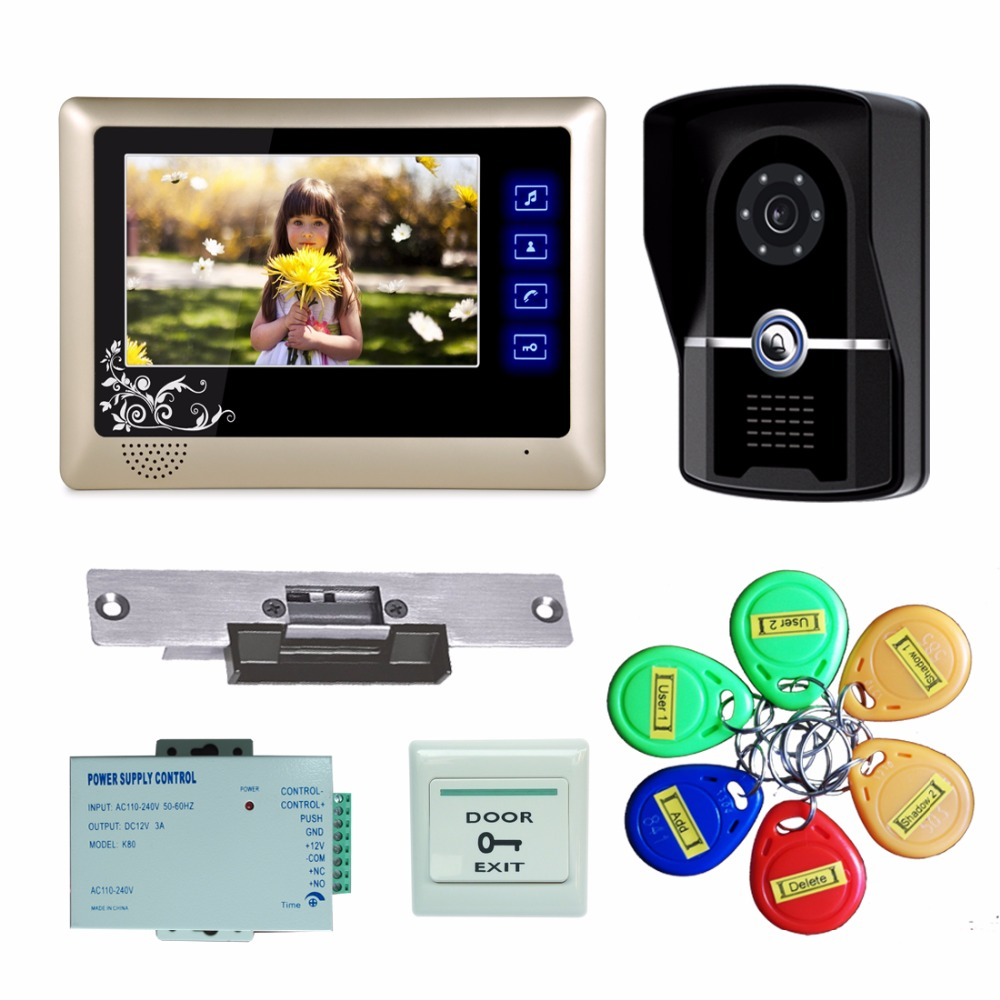 Top Quality Cheap Price 7 Inch Color LCD Video Door Phone Intercom System Door Release Unlock Doorbell Camera(China (Mainland))