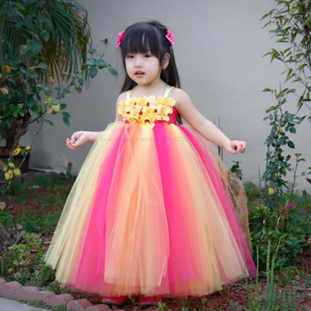 Beautiful Flowers Baby Girl Birthday Dresses Infant ...