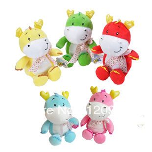 free shipping 2012 chinese dragon cartoon multicolour small doll plush toy plush / nano-doll pp cotton