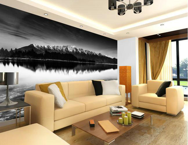 Basin faucet led glass wallpapers black and white lake for Black and white wall mural wallpaper