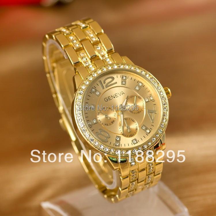 Женева часы полный сталь часы женщины роскошь марка женщины горный хрусталь часы дамы свободного покроя аналоговый кварцевый наручные часы
