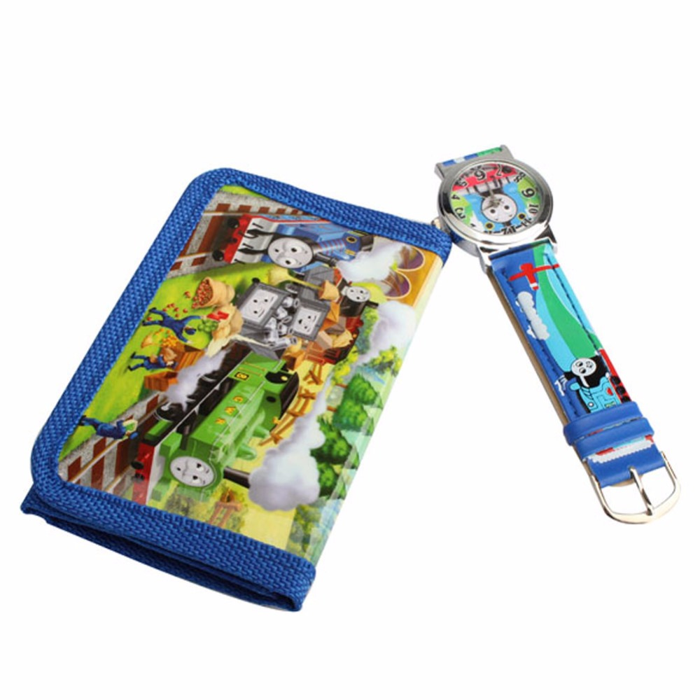 2 In 1 Cartoon Watch With Purse Thomas & Friends Quartz Watch Lovely Purse For Kids(China (Mainland))