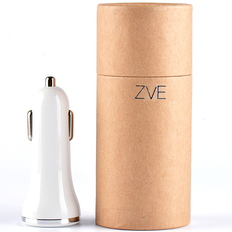 ZVE 12V Car Battery Charger Portable Cell Phone Led Light Car Charger USB White Retailed packaging Free Shipping.(China (Mainland))