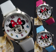 2015 new  Cartoon Minnie mouse rose red bowknot Color number style dial children students girl's leather Bracelet wrist watch(China (Mainland))