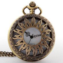 Antique The Sun Pattern Style Brown Steampunk Necklace Quartz Pocket Watch Bronze Chain Men Gift P04