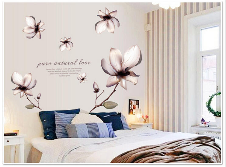 New Lily Flower Removable wall sticker decal wall stickers home decor room decoration stick bedroom decals mural accessories art(China (Mainland))