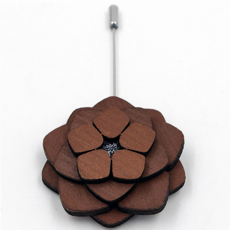 New Hot Wooden Flower Brooches Corsage For Wedding Suits Fashion Handmade Women Brooch Lapel Pins Business Wood Brooch For Mens(China (Mainland))