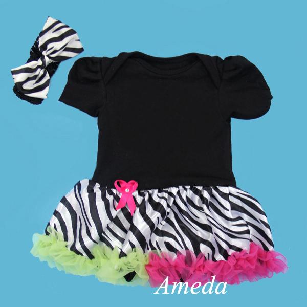 Black Bodysuit Hot Pink Green Zebra Pettiskirt Pettidress Headband 2pcs 0-18M(Hong Kong)