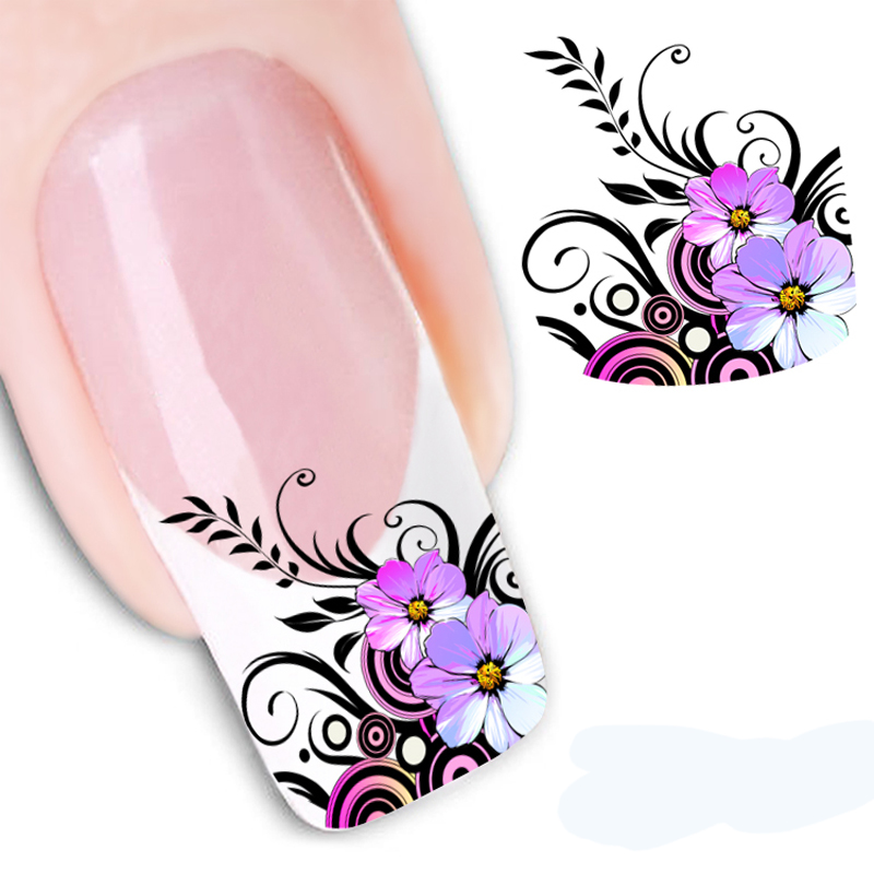 1PCS Nail Art Water Decals Transfer Stickers For Nails Black Swan Feather Flower Nail Design Manicure Tool Makeup(China (Mainland))