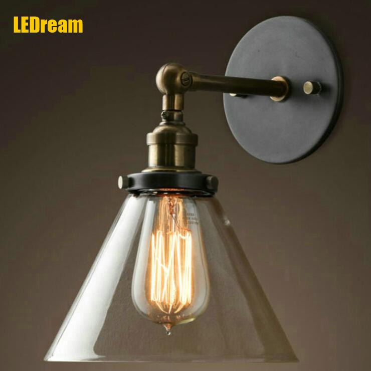 loft industrial wall lamps vintage bedside wall light clear