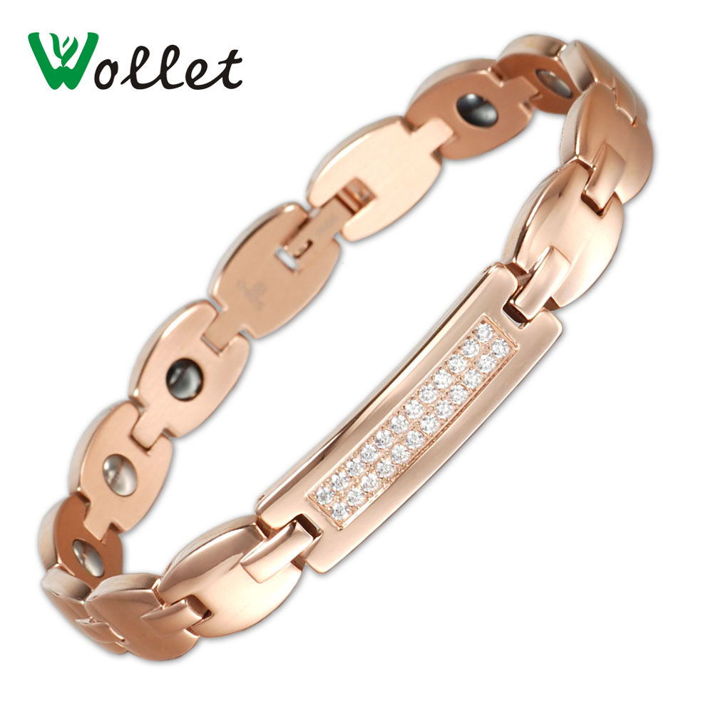 Wollet Jewelry Women New Arrival Germanium Hematite Double Row Stone Women's Rose Gold Plated Stainless Steel Bracelet For Femme(China (Mainland))